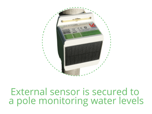 DCO's external sensor is secured to a pole monitoring water levels