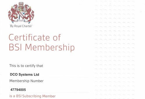 DCO are proud members of British Standards Institution